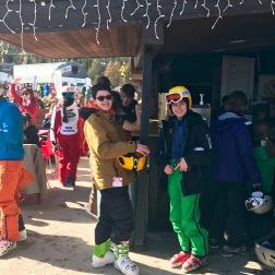 Elliot and Sawyer sun skiing