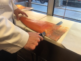 Hand sliced salmon